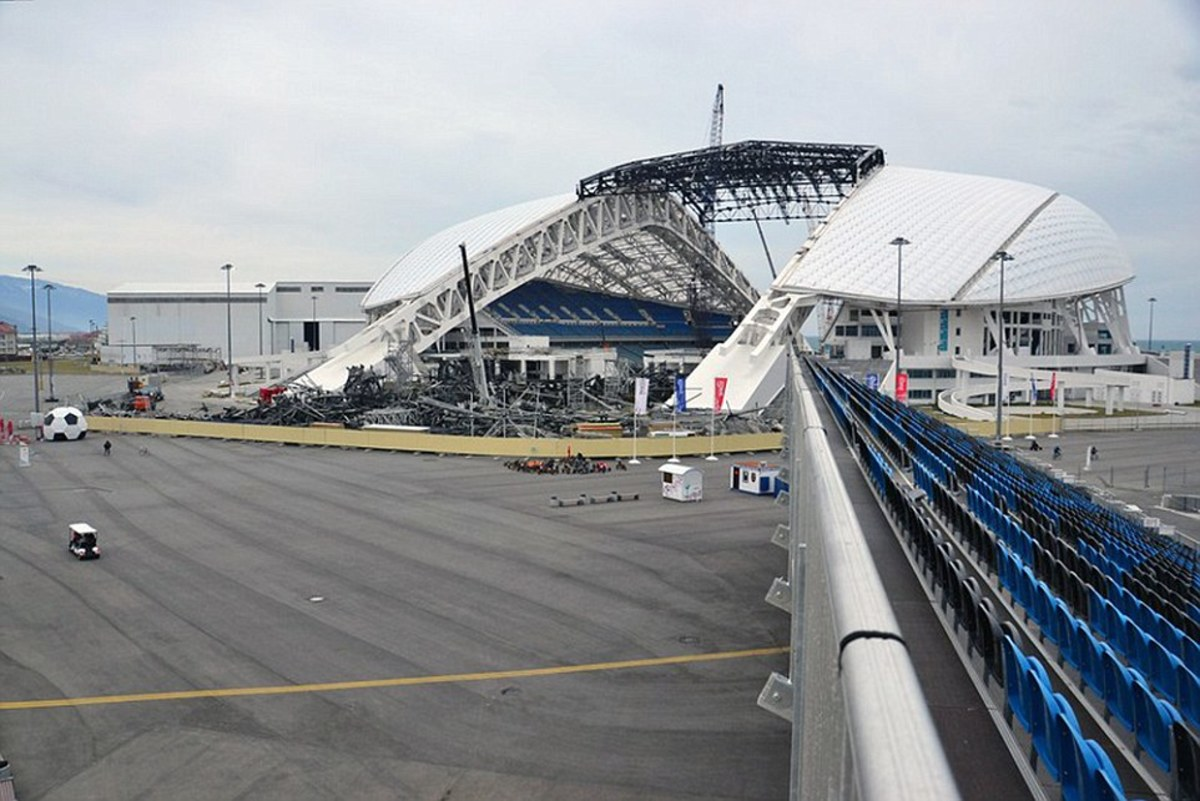 The stadium, its roof partially disassembled, has rarely been used since the games.