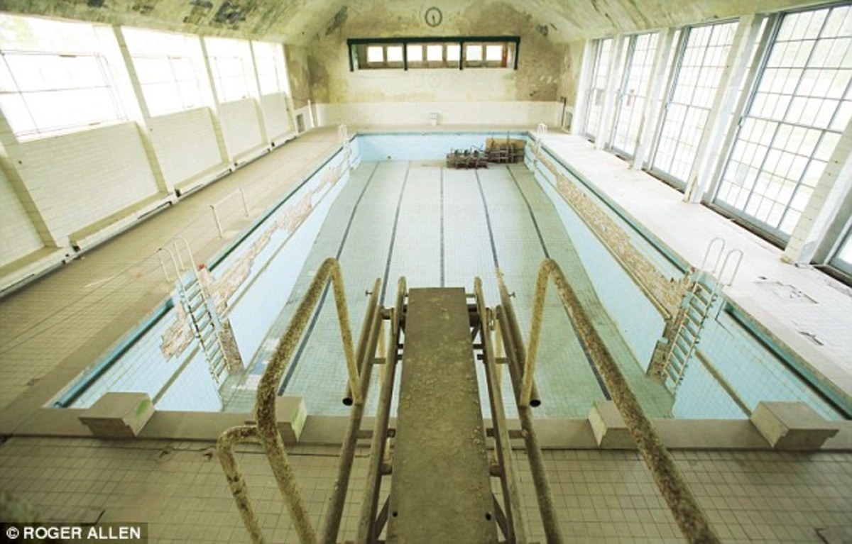 The Village swimming pool, abandoned since 1945, only recently has been subject to conservation and preservation.