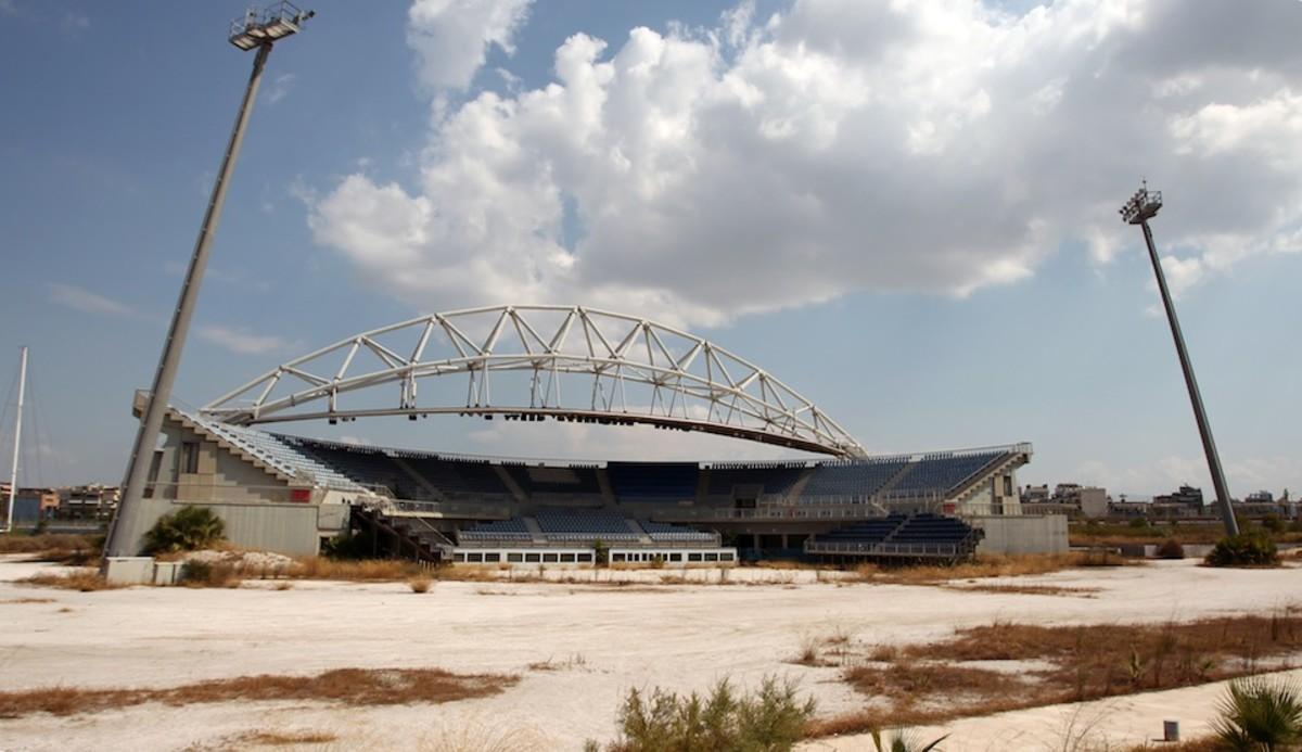 Abandoned beachball volleyball stadium.