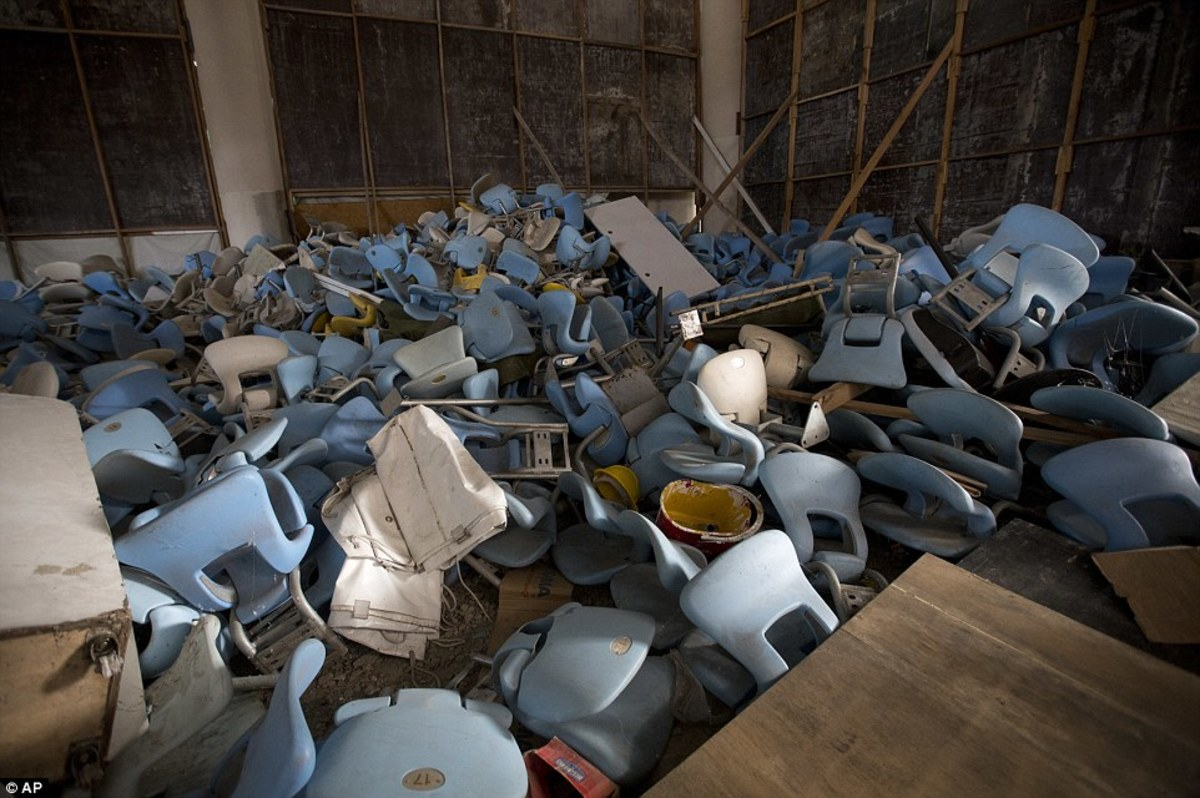 A pile of chairs left to rot after being ripped out of Maracana Stadium.