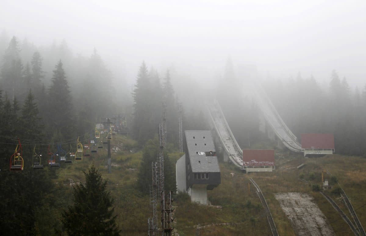 The ski jump at Sarajevo, rotting away.