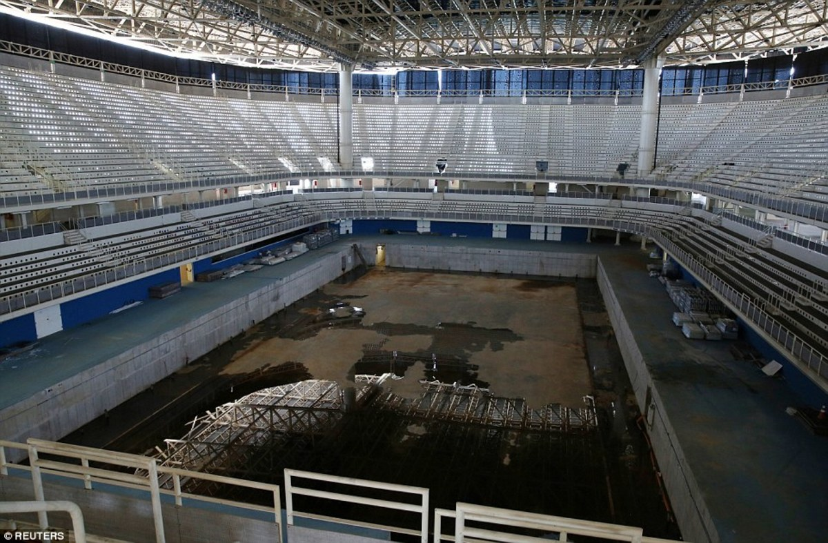 The aquatics stadium now in ruins.