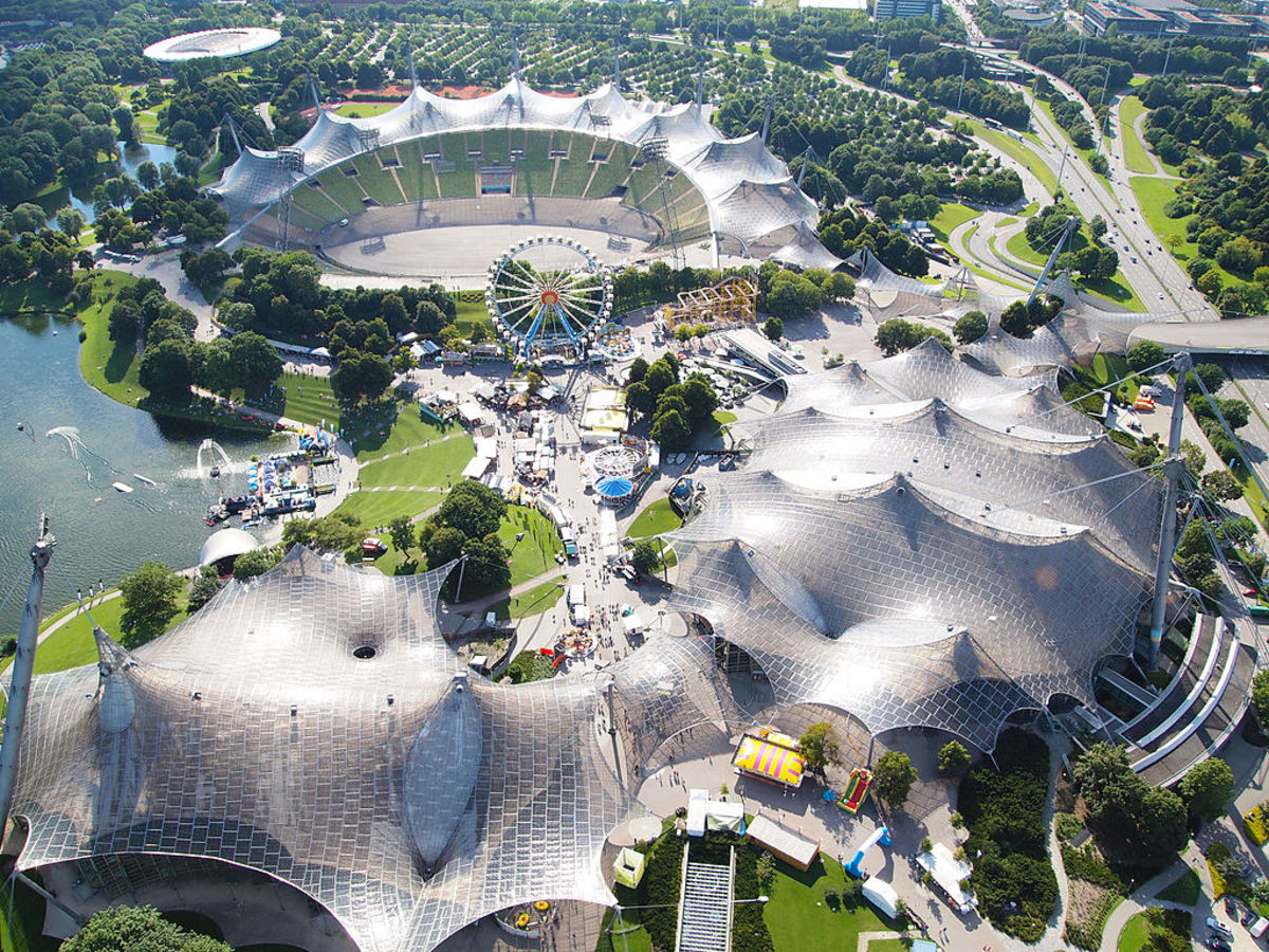 Aerial photo of Olympiapark in Munich.