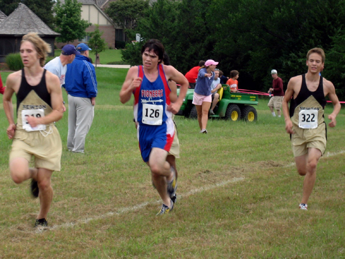 HIgh school boys running cross country