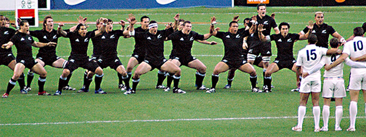 The All Blacks perform the haka war dance before a match against France in 2006. New Zealand - as so often - won the match. The score was 23:11