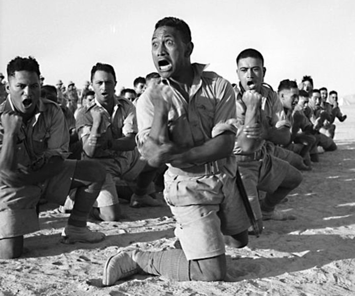 Maori soldiers in Egypt during World War Two, performing a ceremonial haka for the King of Greece in June 1941