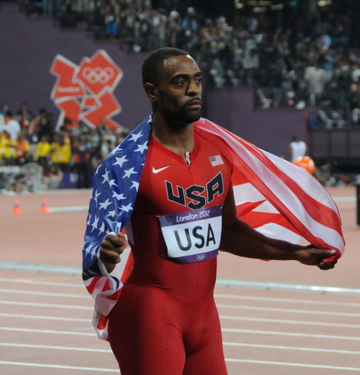 Tyson Gay holds the American record for the 100 meters.