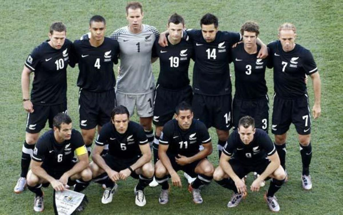 The starting lineup for New Zealand in Polokwane, South Africa. Top row: Chris Killen, Winston Reid, Mark Paston, Tommy Smith, Rory Fallon, Tony Lochhead, Simon Elliott; bottom row: Ryan Nelsen (C), Ivan Vicelich, Leo Bertos and Shane Smeltz.