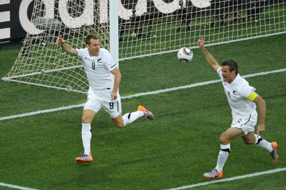 Shane Smeltz (9) celebrates with captain Ryan Nelsen after Smeltz scored against Italy in a World Cup match in Nelspruit, South Africa.