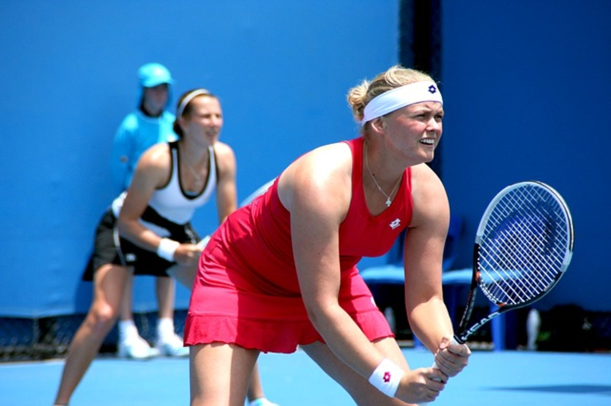 Anna Lena Groenefeld receiving at the Australian Open in Melbourne 2012.  Grönefeld was born in born 4 June 1985 in Nordhorn, Germany.  Up until 2006, she was coached and trained in Scottsdale, Arizona, but now she lives and trains in Saarbrücken.
