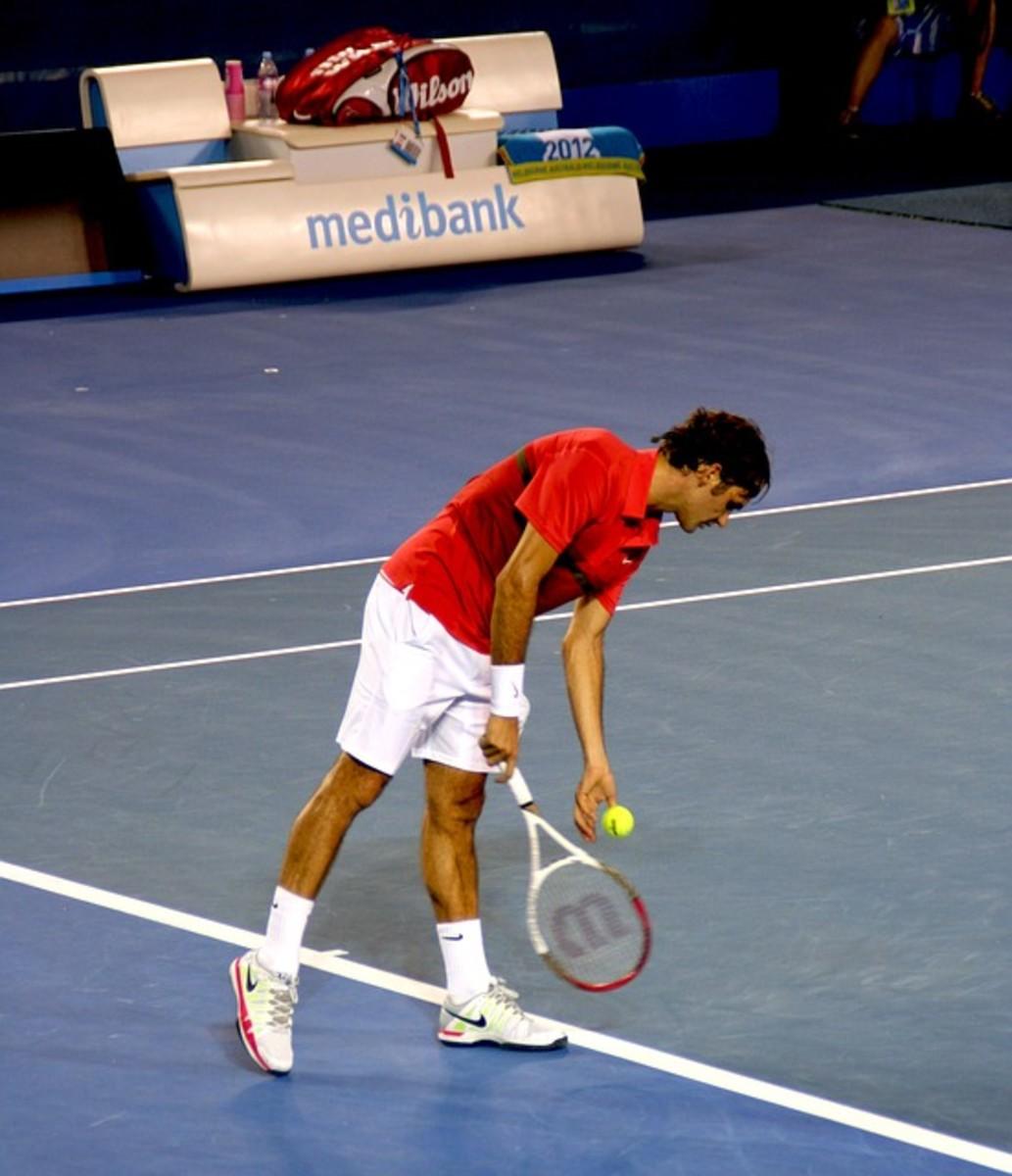 Roger Federer makes his serve look effortless. Like most pros, he uses a form of backhand grip for serving; in Federer's case, a mild eastern backhand.