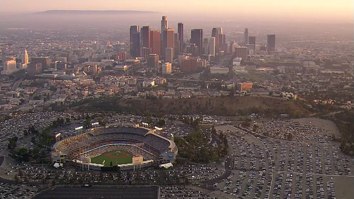 Dodger Stadium in the foreground