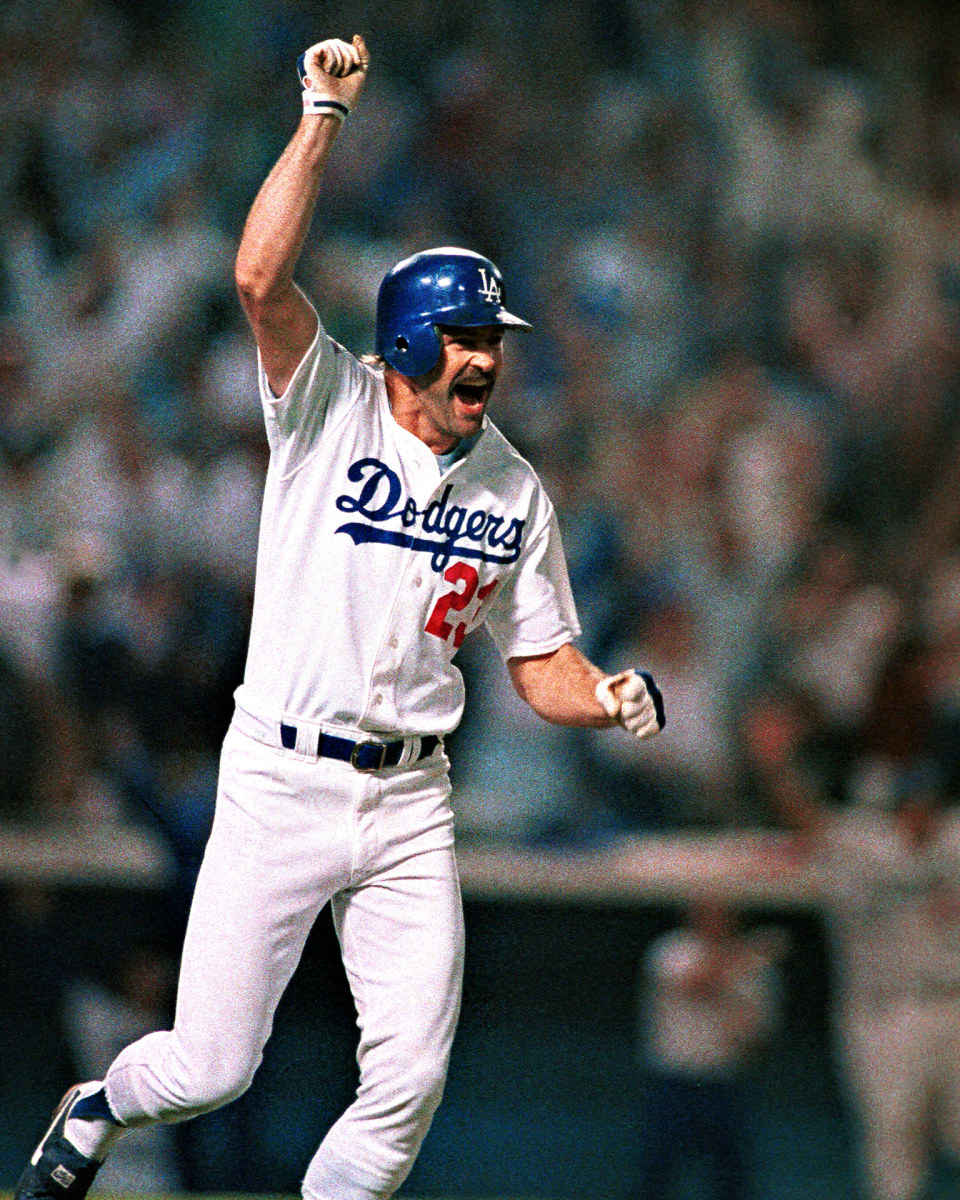 Kirk Gibson after hitting his historic home run in the 1988 World Series