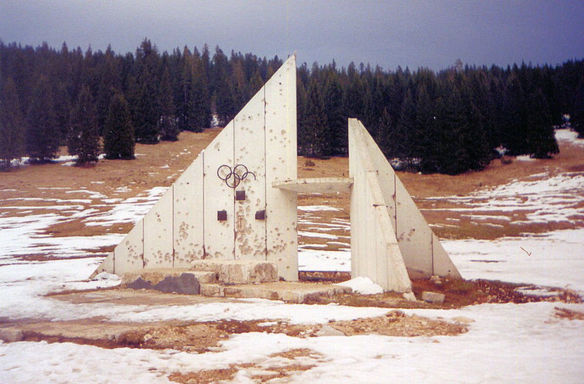 The podium from the 1984 Sarajevo Olympics  was used for executions during the country's civil war.