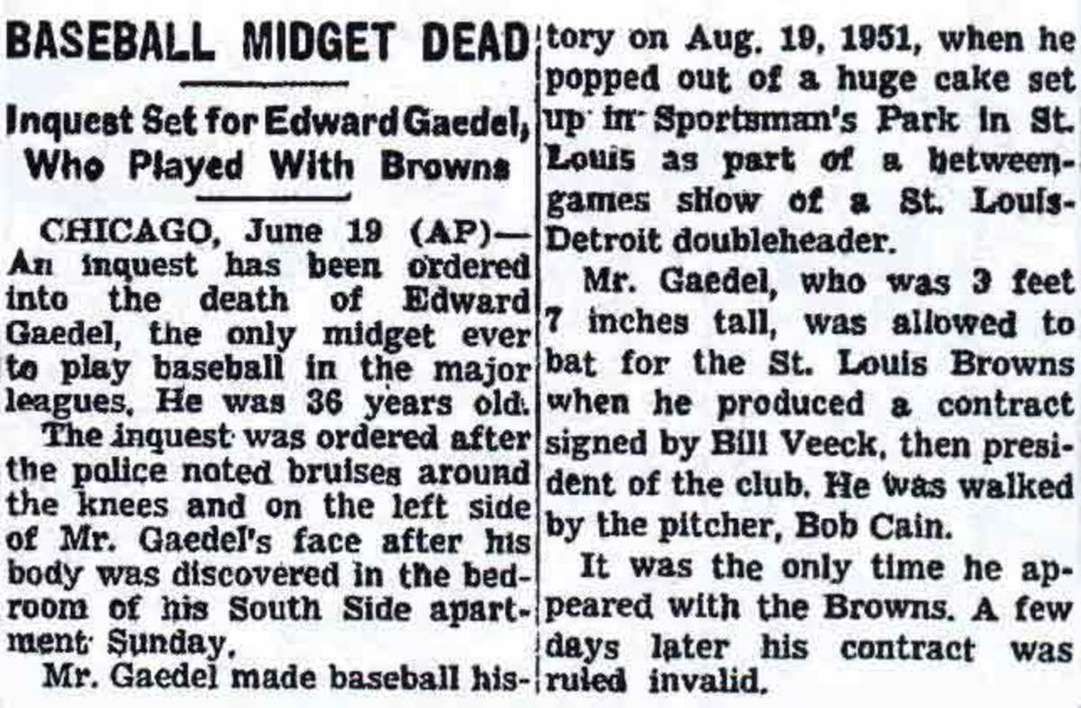 Eddie Gaedel death notice.