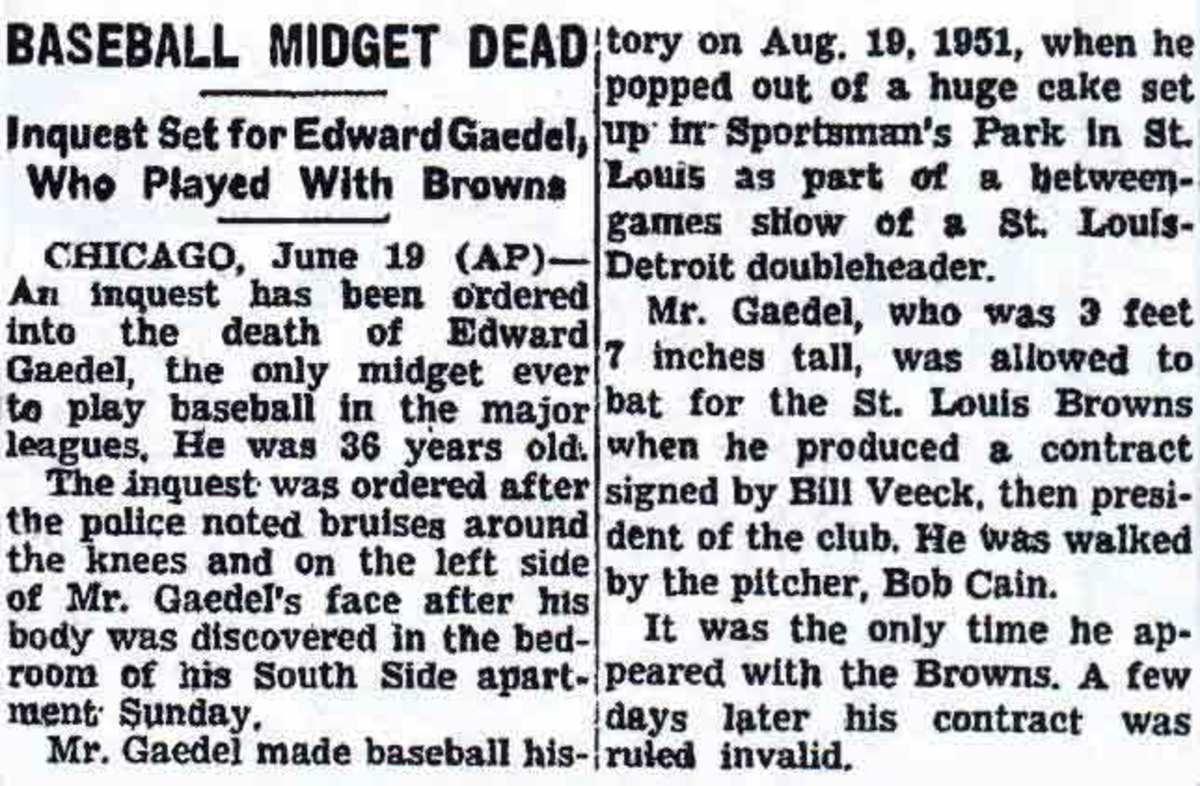 Eddie Gaedel death notice