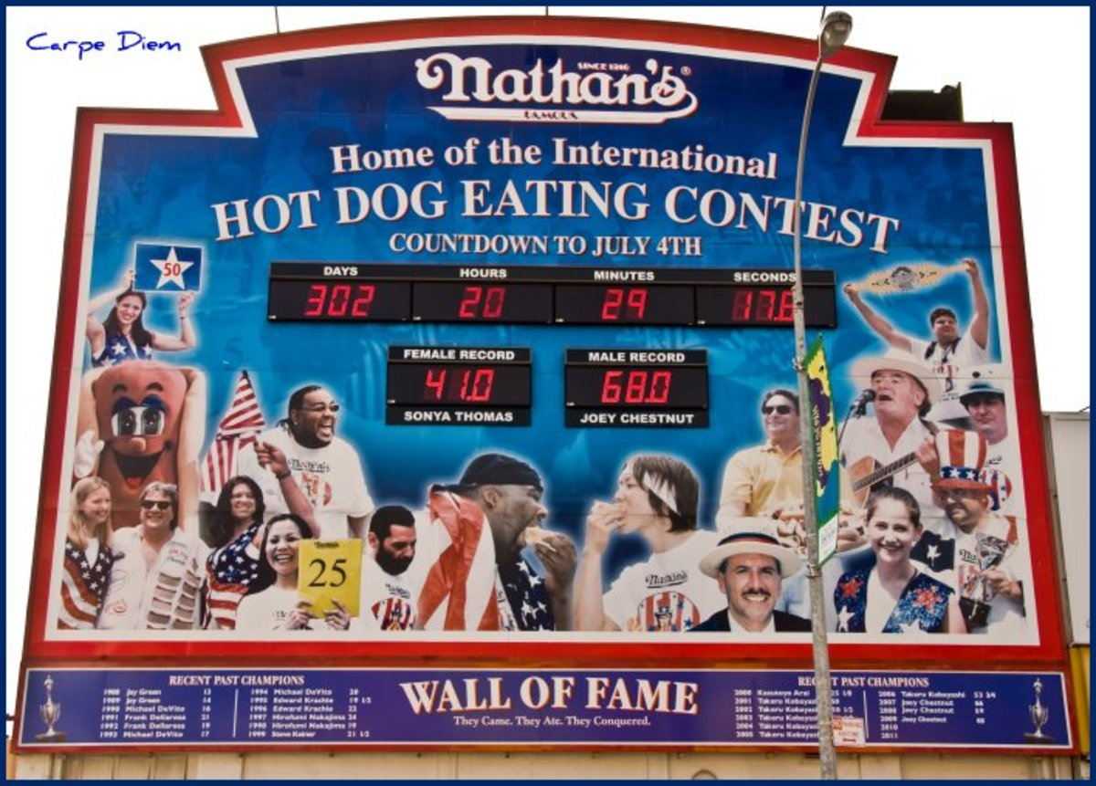 The annual Nathan's Hot Dog Eating Contest is held on July 4 and broadcast live on ESPN.