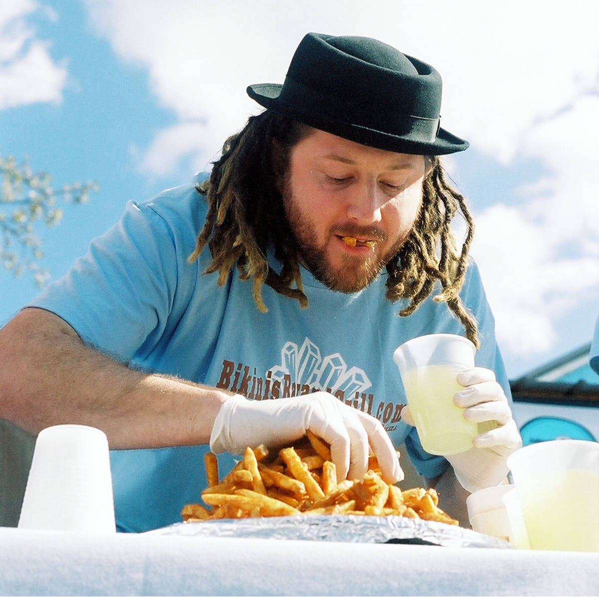 """Speed Eater """"Crazy Legs"""" Conti in a 2007 french fry eating contest in Austin, TX"""