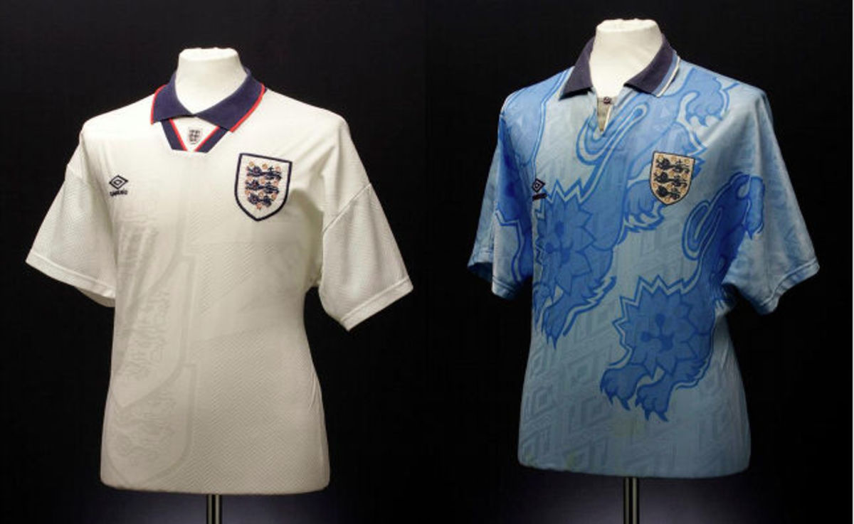 England home and away shirts in 1994