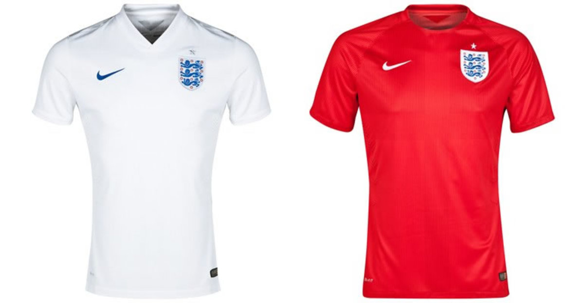 England Home and Away Shirts 2014 World Cup
