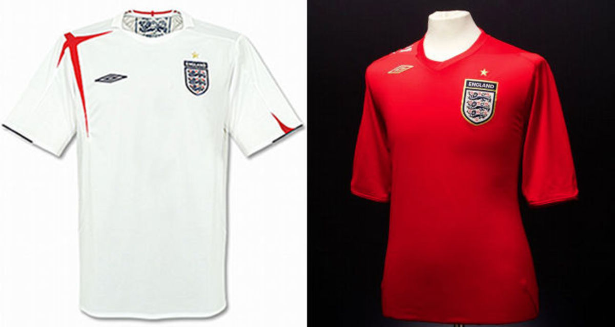 England Home and Away Shirts 2006 World Cup