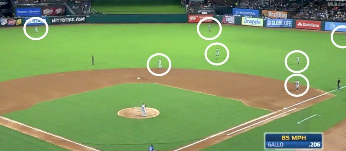 A view of the infamous Joey Gallo Shift that teams employ against the extreme pull hitter. This league's rules would allow shifting, but not allow shifts this drastic.