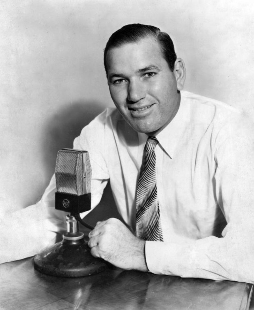 """""""Dizzy"""" Dean became a broadcaster after his playing days were over; calling games for the Cardinals, Browns, Yankees, (Atlanta) Braves, and three networks -- Mutual, ABC and CBS."""