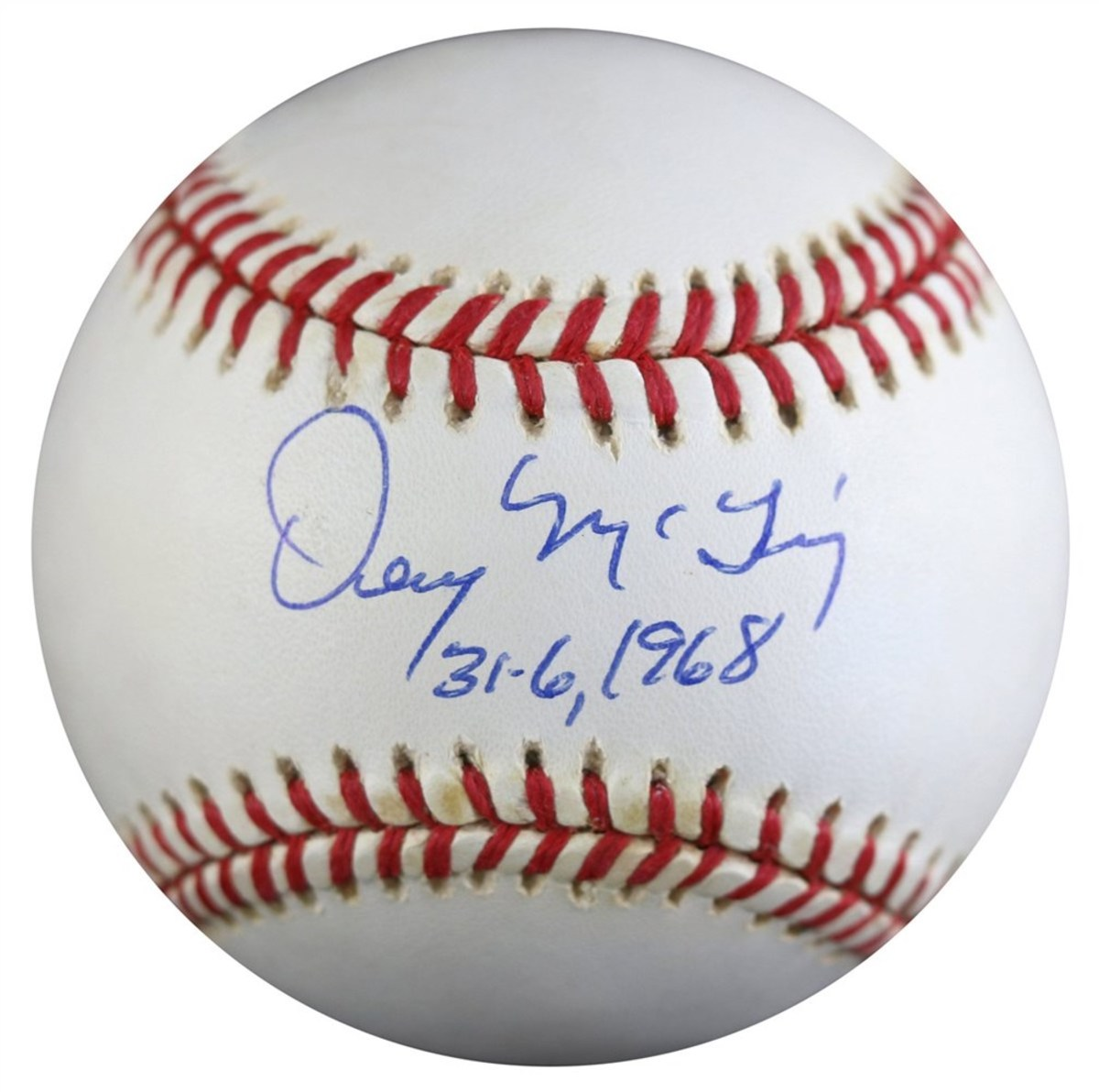 Detroit Tigers pitcher Denny McLain's autograph, in commemoration of the 1968 season: 31 wins and 6 losses.
