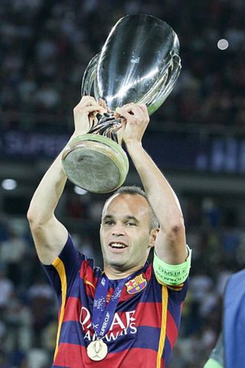 During his time with Barcelona, Andres Iniesta won 9 league titles and famously scored the winning goal for Spain in the 2010 World Cup.