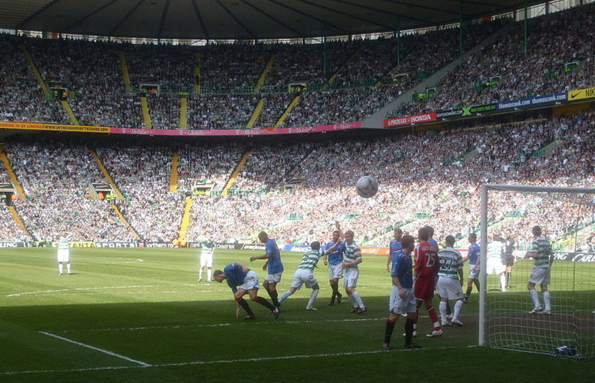 A photo showing an Old Firm match from 2008 at Celtic Park. Celtic are in green, Rangers are in blue.