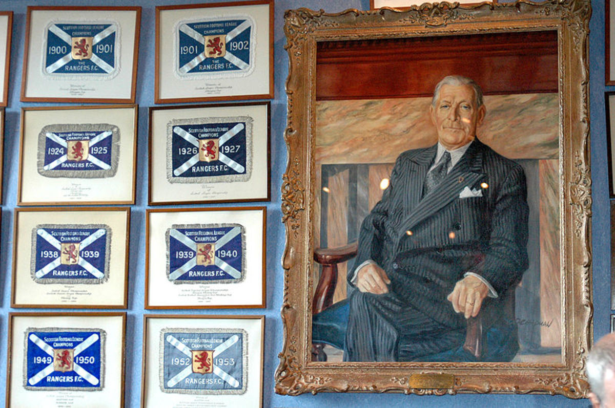 A photo of Bill Struth the legendary Rangers manager and most successful manager in Scottish Football with 30 trophies, all with Rangers.