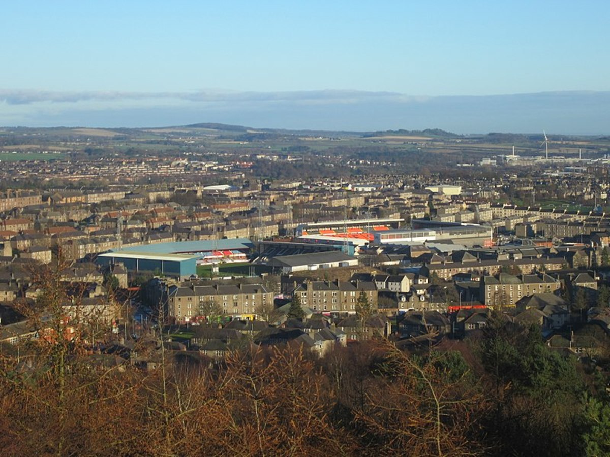A view of Dundee's two football grounds- Dens Park on the left and Tannadice on the right.