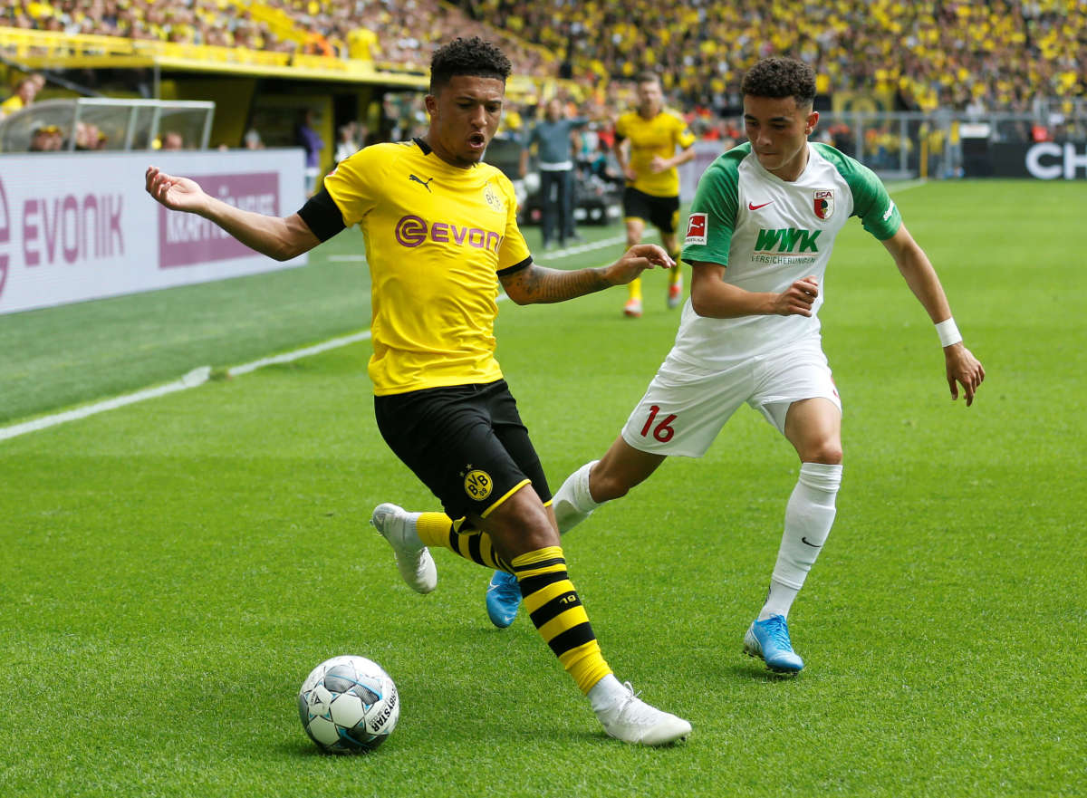Jadon Sancho against Augsburg in 2019.