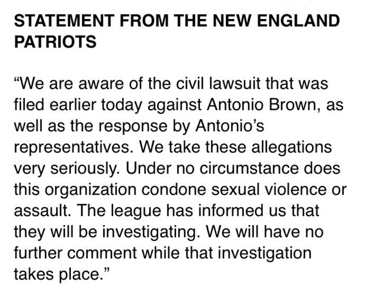 Text of the statement from the Patriots.