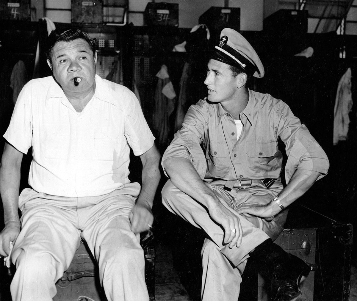 Babe Ruth and Ted Williams swap baseball stories