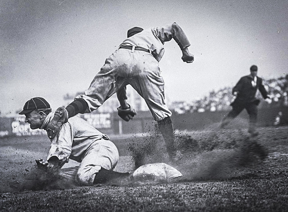 Ty Cobb steals third base