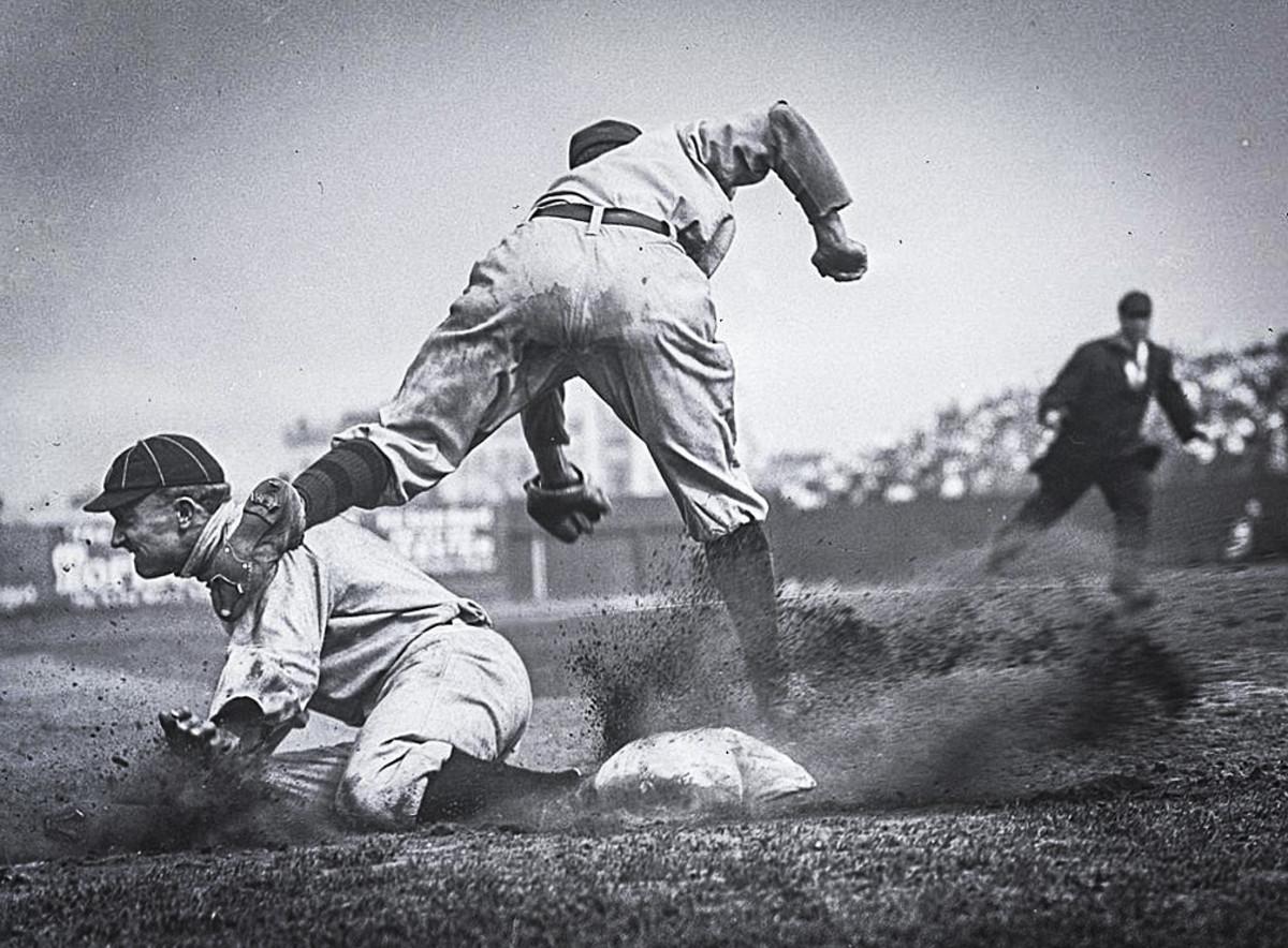 Ty Cobb steals third base