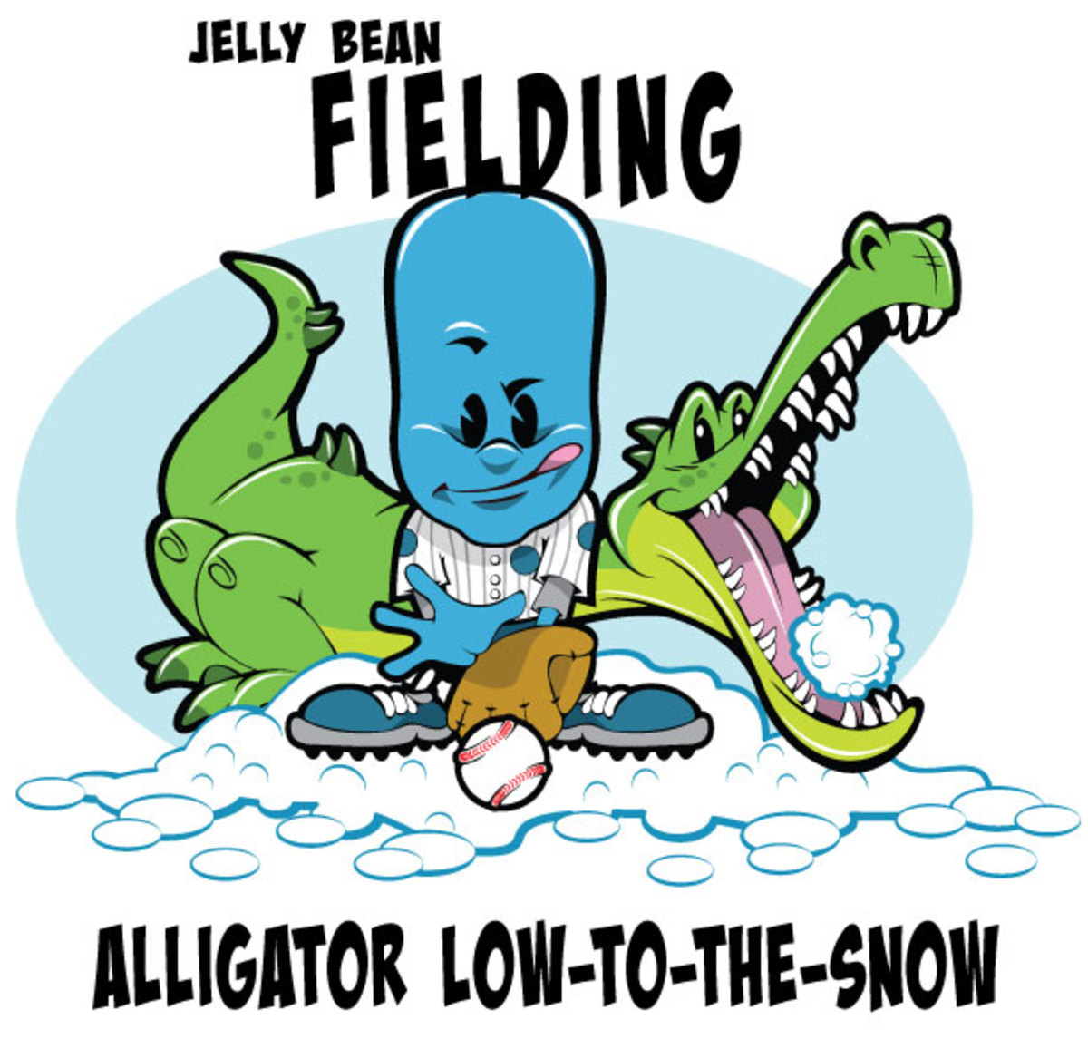 Jelly Bean and alligator playing baseball in the snow
