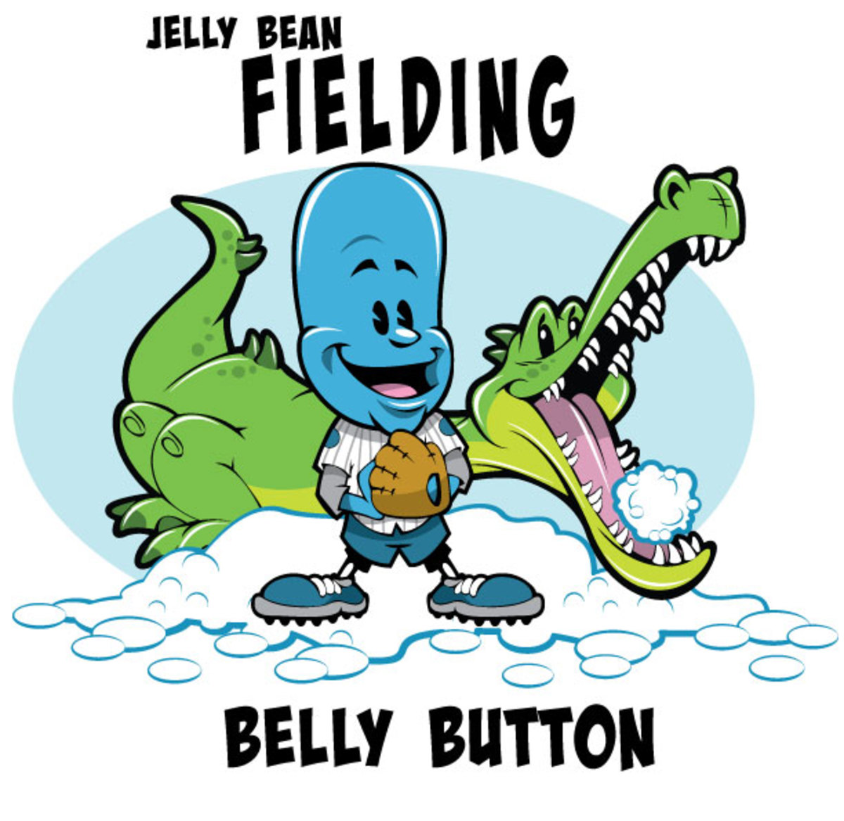 Jelly Bean touching his belly button and alligator eating a snowball