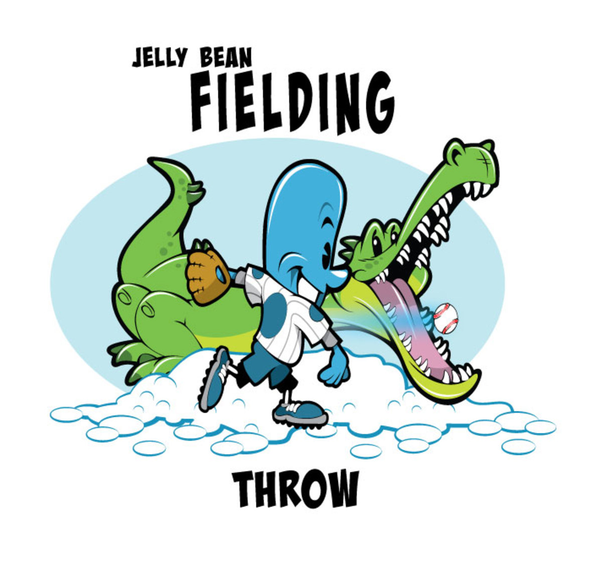 Jelly Bean throwing a baseball with an alligator