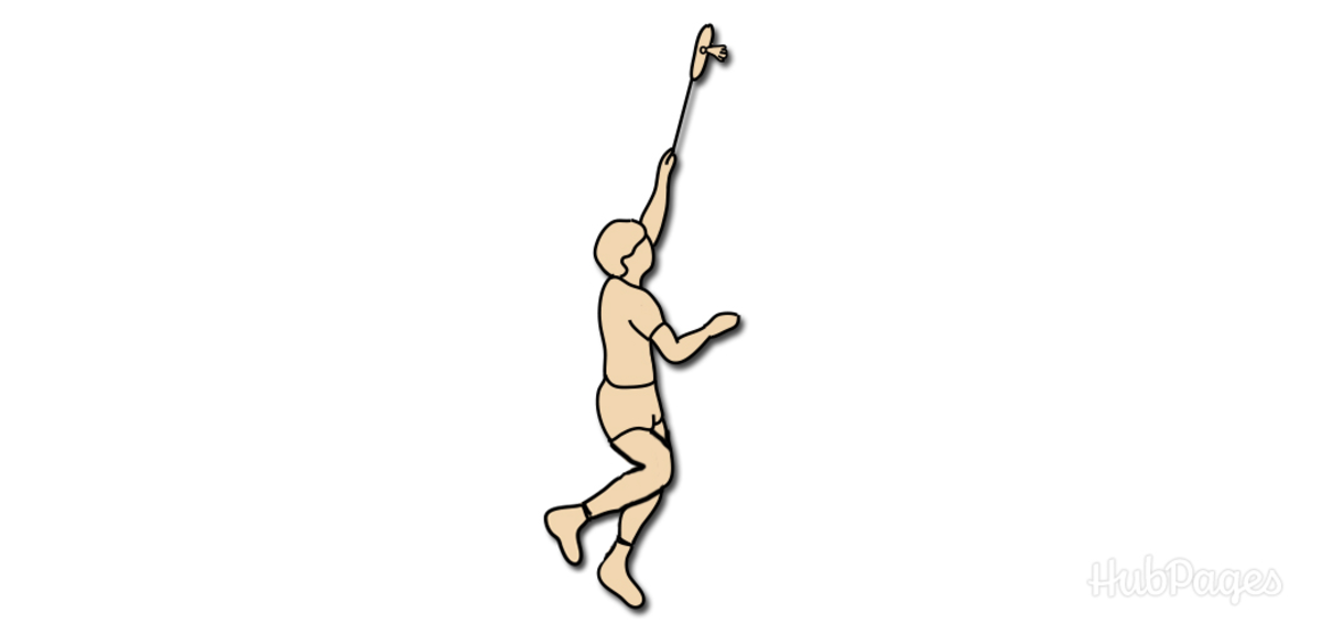 Badminton Smash Figure 5: Then swing your arm by beginning to straighten it out as if you were going to throw it through the shuttlecock