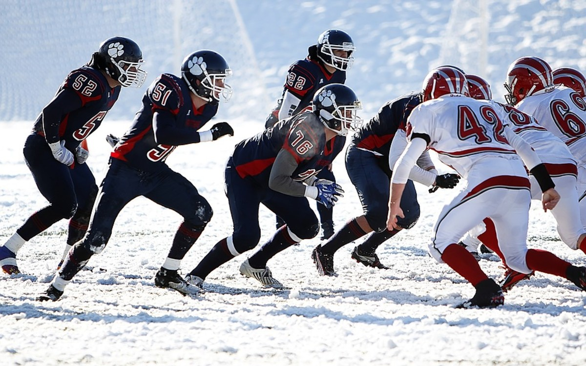 Snow Ball: Football in the snow . . . brrr.