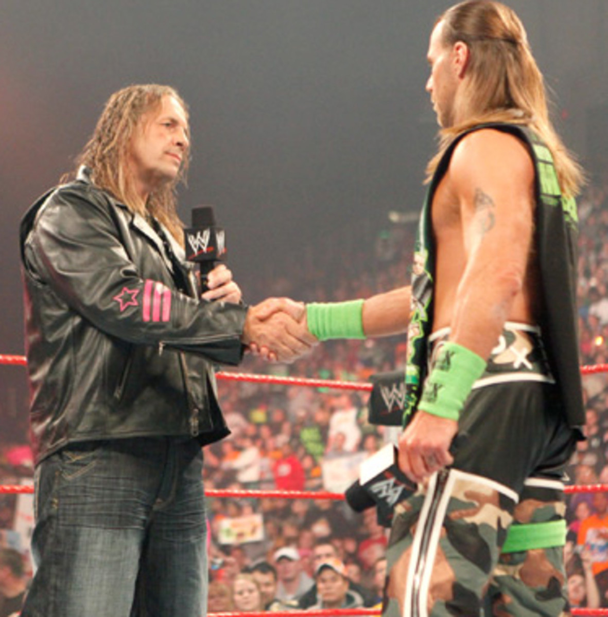 1/4/2010: Bret Hart and Shawn Michaels meet in the ring for the first time in 12 years