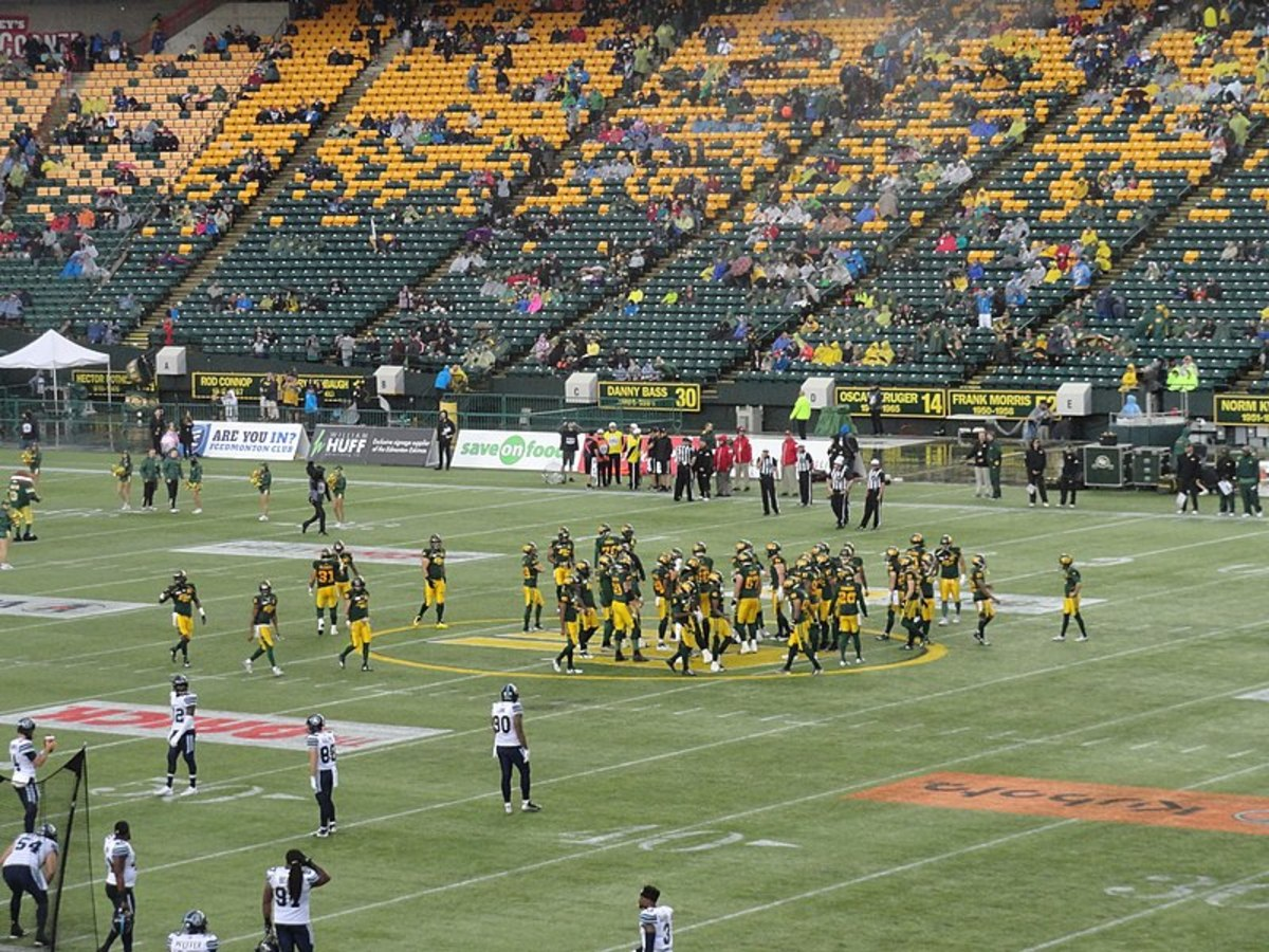 A game between the Toronto Argonauts and the Edmonton Eskimos.