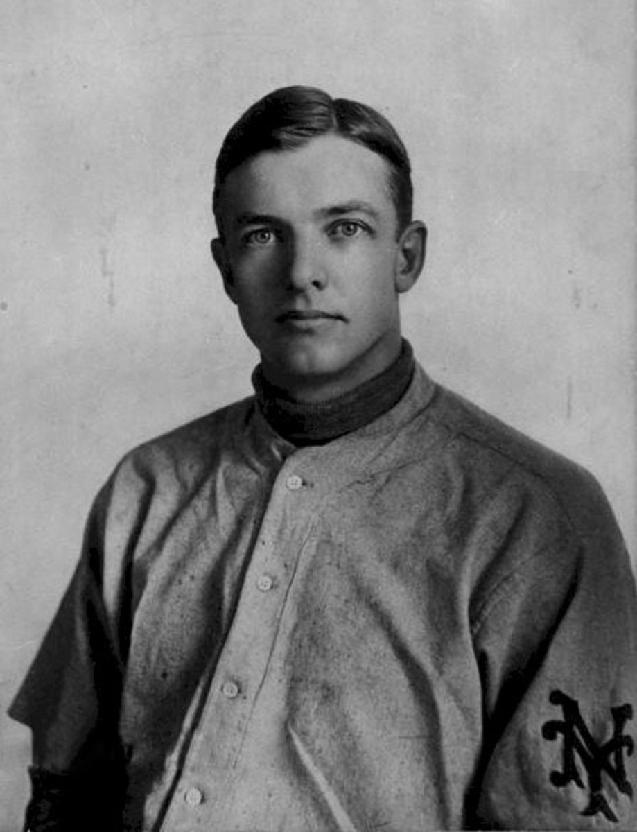 Christy Mathewson in a New York Giants uniform.