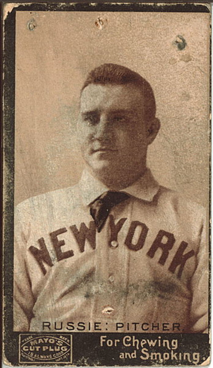 1895 Amos Rusie baseball card from Mayo Tobacco Works.