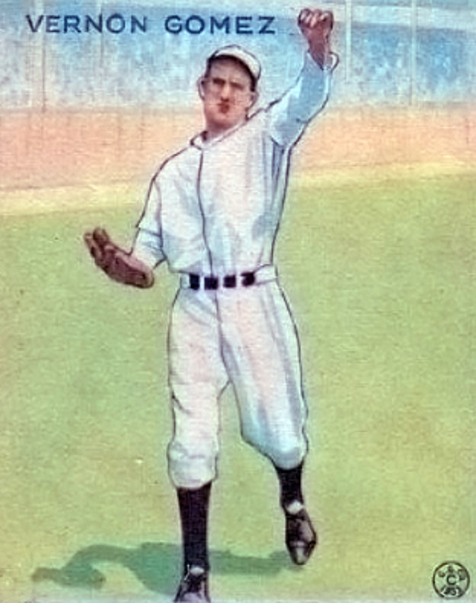 Lefty Gomez on a Goudey Gum baseball card. Gomez won two AL Triple Crowns with the Yankees.