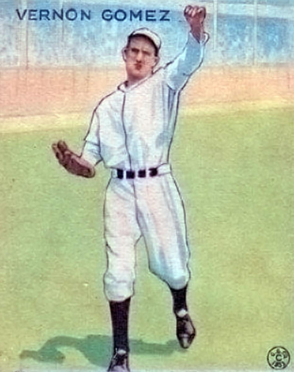 Lefty Gomez's 1933 Goudey baseball card.