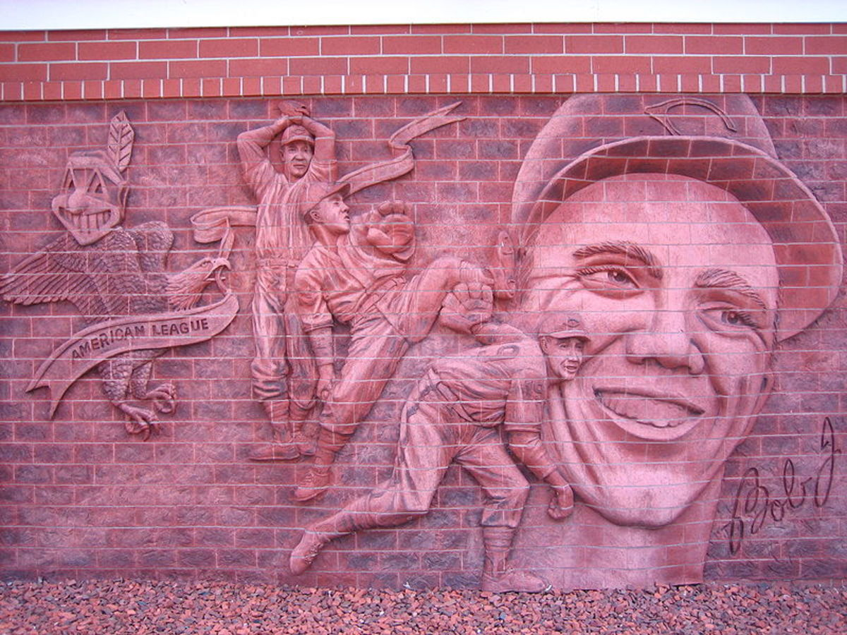 Wall sculpture at the Bob Feller Museum in Van Meter, Iowa. Feller threw an Opening Day no-hitter on his way to the 1940 Al Triple Crown.
