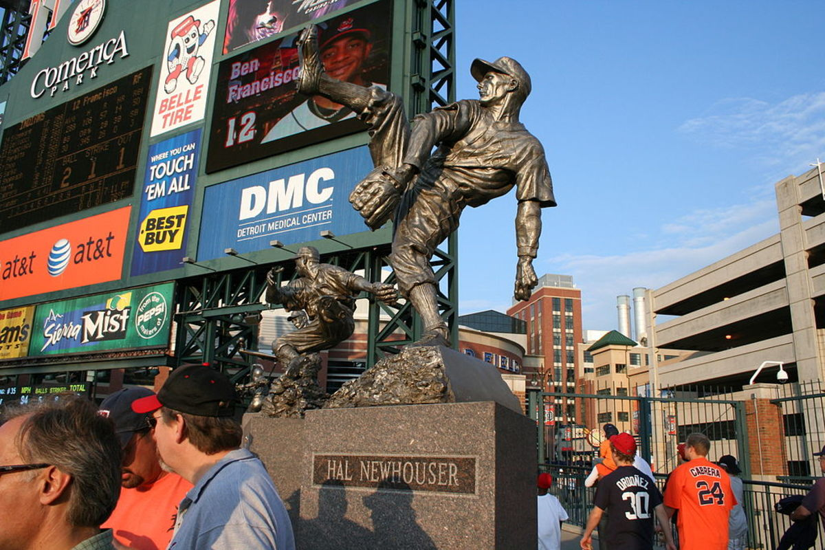 Statue of Hal Neuhouser in Detroit's Comerica Park. Newhouser's 1945 Triple Crown season included 29 complete games and eight shutouts.